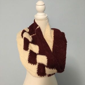 Cream and Maroon/Deep Red Cowl/Scarf